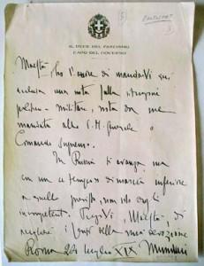 Mussolini Letter